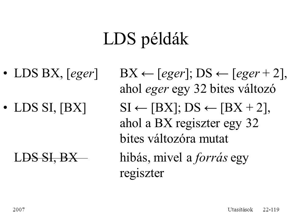 LDS példák LDS BX, [eger] BX ← [eger]; DS ← [eger + 2], ahol eger egy 32 bites változó.